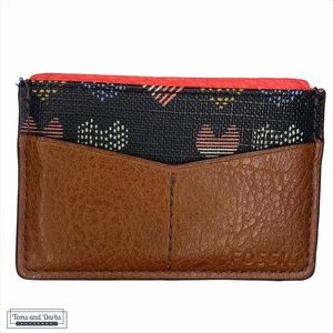 Women's Fossil Brown Leather Card Holder w Hearts